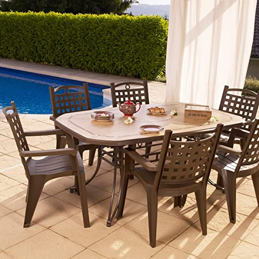 GROSFILLEX-Set de mesa y sillas de jardín, diseño de Amalfi Bora ...