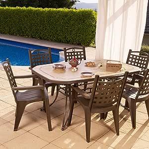 GROSFILLEX-Set de mesa y sillas de jardín, diseño de Amalfi Bora-design, marrón: Amazon.es: Jardín