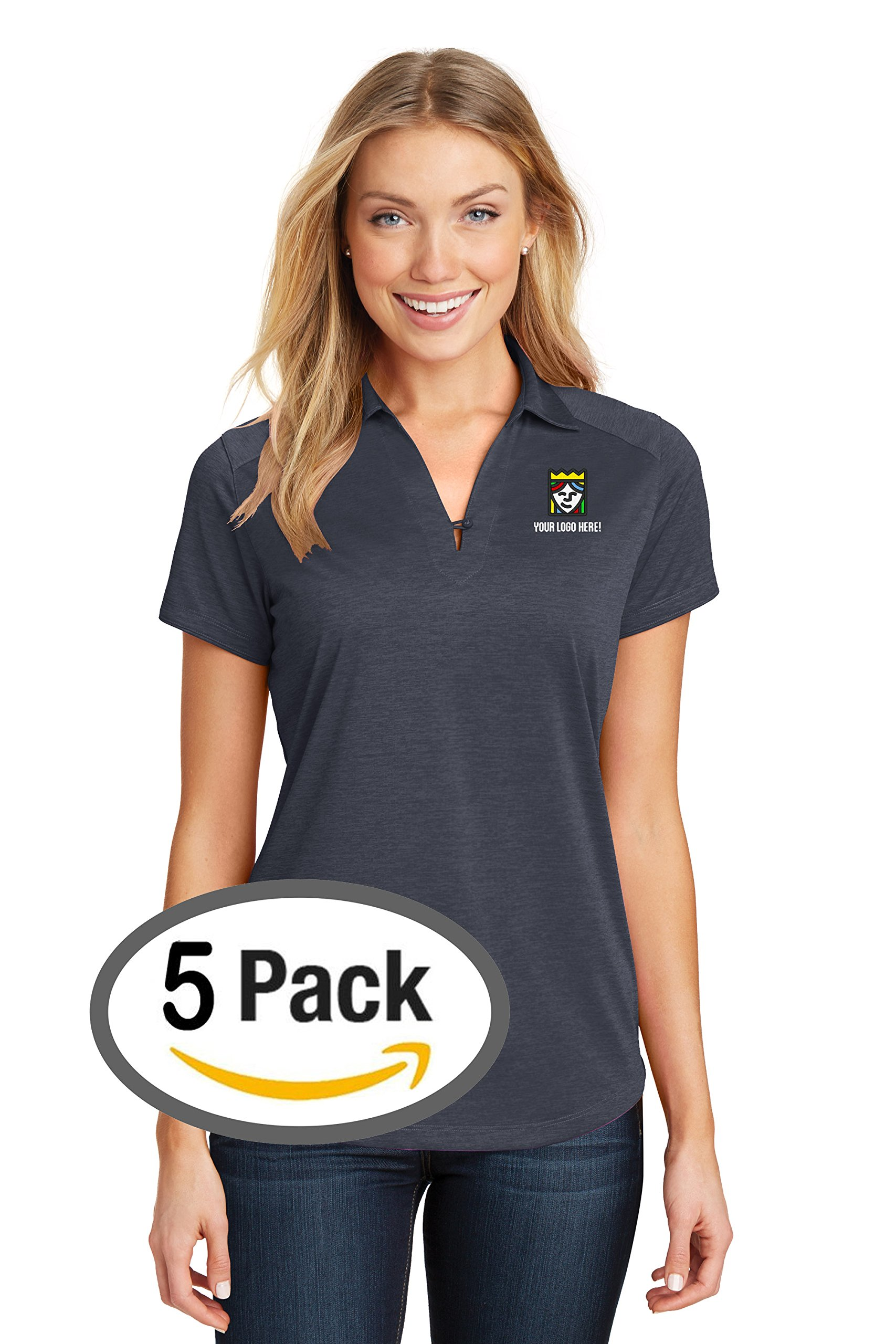 Custom Embroidered Port Authority Ladies Digi Heather Performance Polo – Pack Of 5