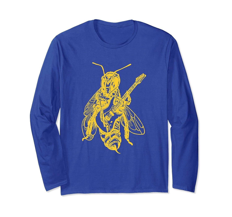 SEEMBO Bee Playing Guitar Long Sleeve T-Shirt Guitarist Tee-AZP