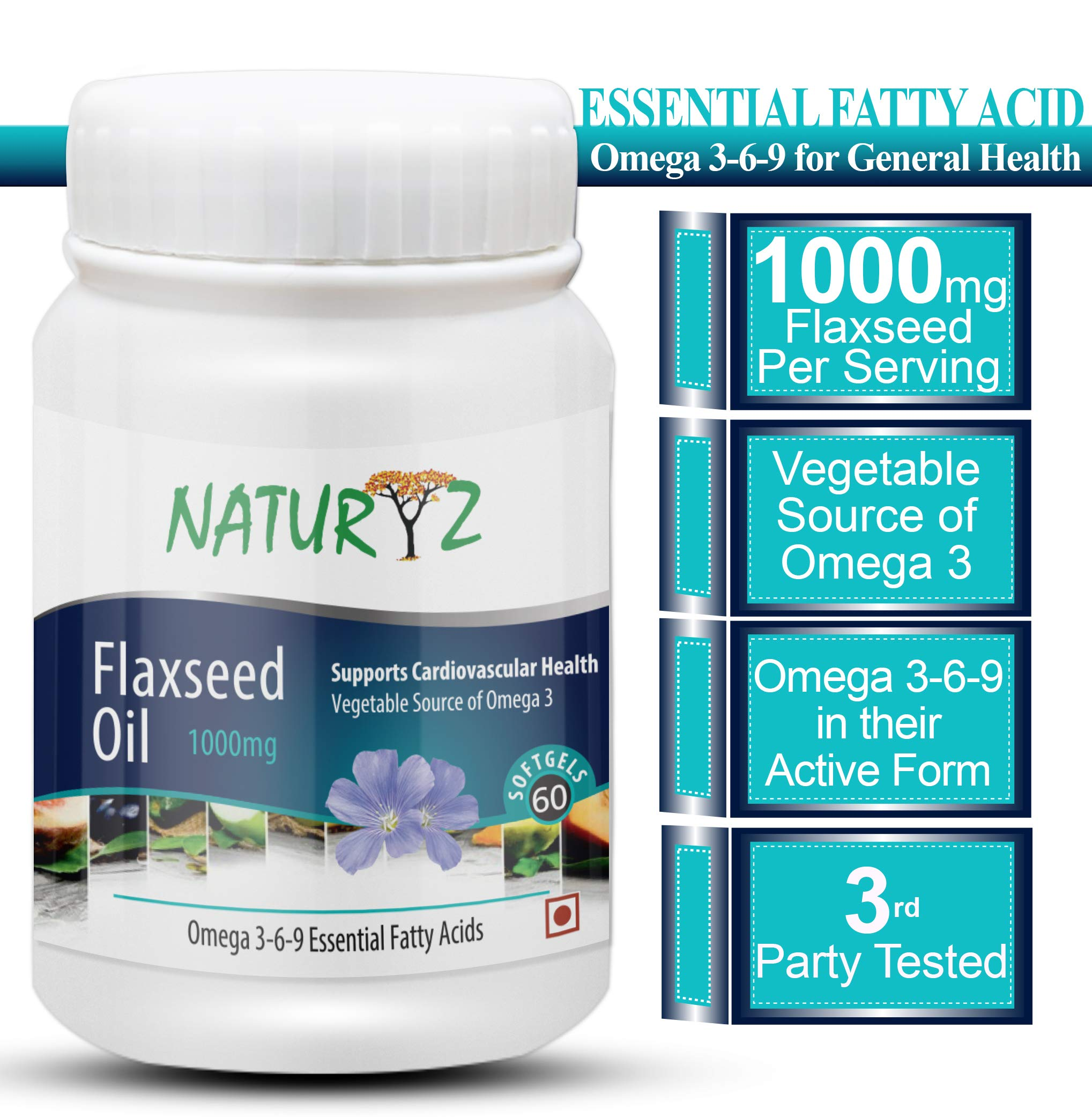 Naturyz Cold Pressed Flaxseed Oil (Omega 3-6-9) 1000 mg -60 Softgel Capsules product image