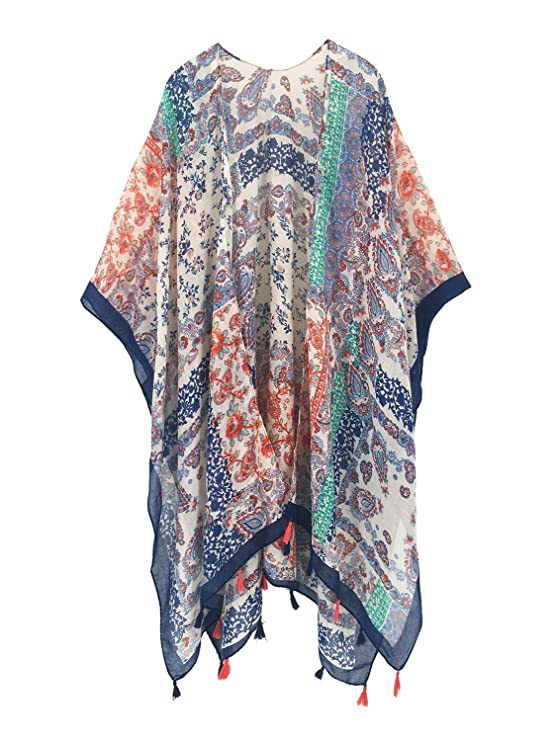 Moss Rose Women's Beach Cover up Swimsuit Kimono Cardigan with Bohemian Floral Print best kimono tops