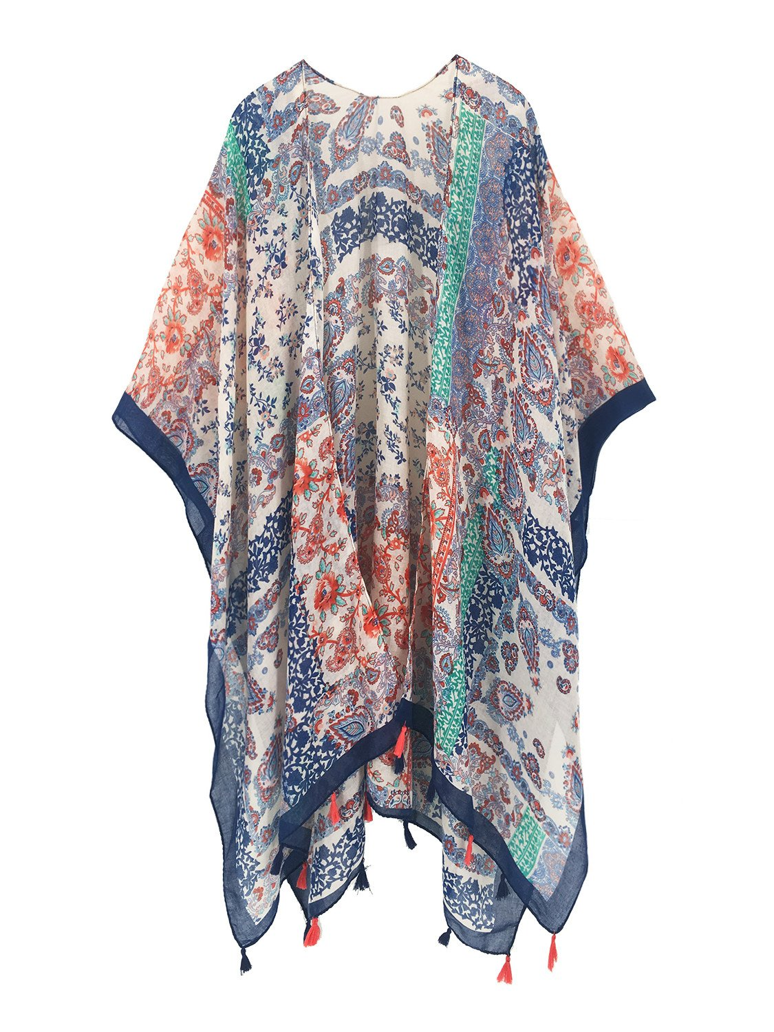 Moss Rose Women's Beach Cover up Swimsuit Kimono Cardigan with Bohemian Floral Print (Color 13)