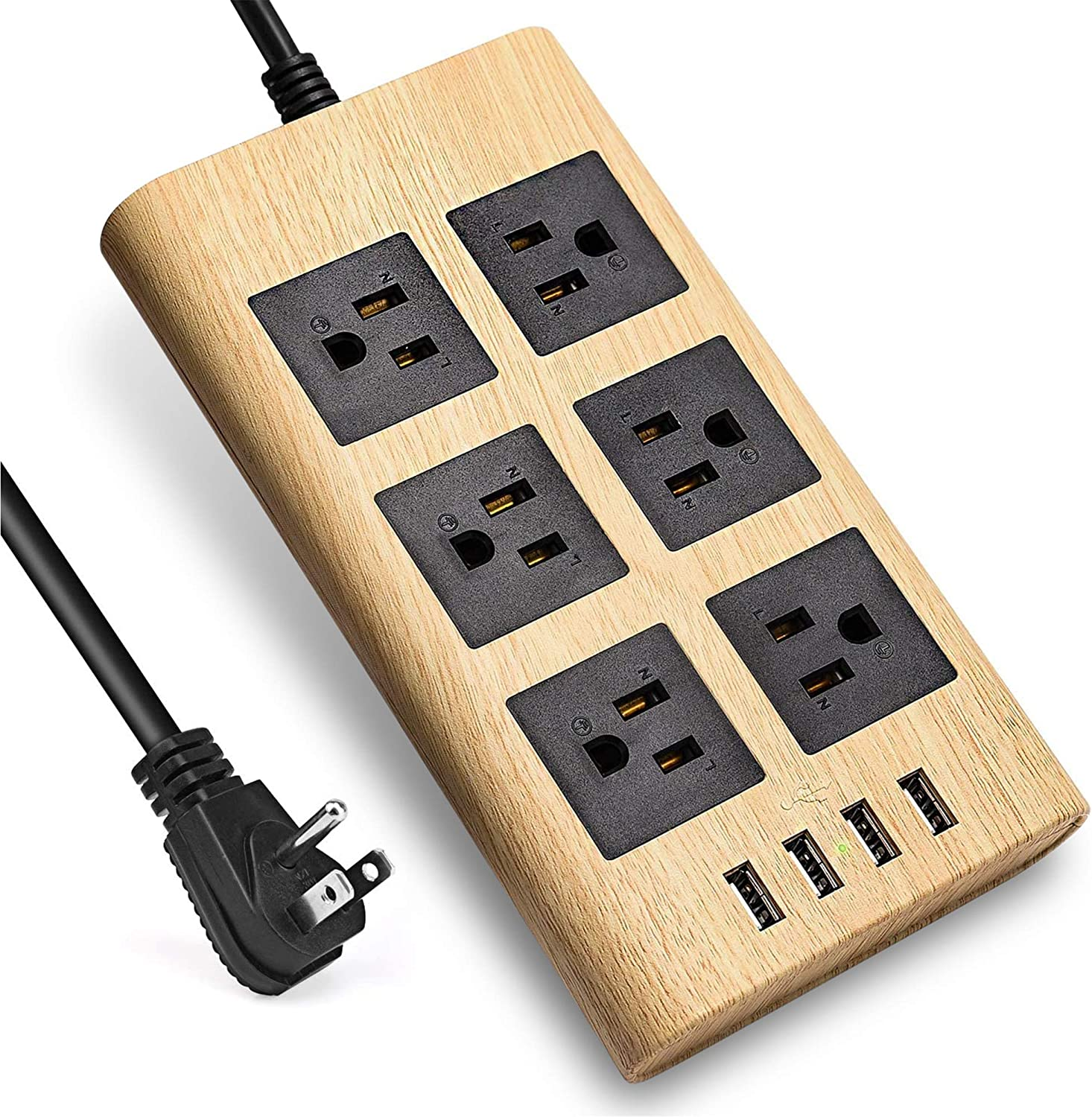 Aracky Surge Protector Power Strip with USB, 9.8ft Desktop Extension Cord, Wood Grain Charging Station with 6 Widely Spaced Outlets & 4 USB Charging Ports, for Home, Office, Dorm