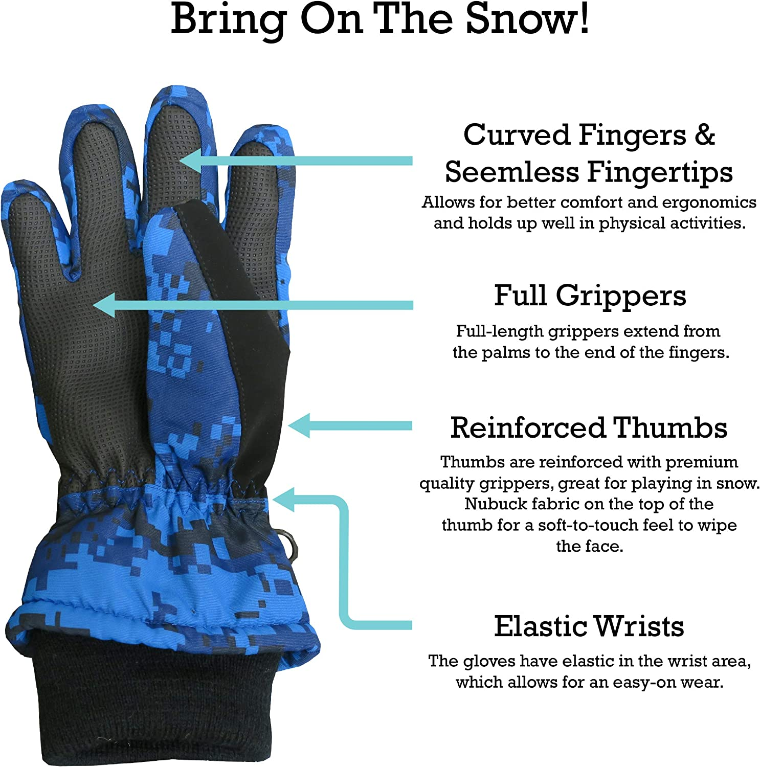 N'Ice Caps Kids Cold Weather Waterproof Thinsulate Camo Print Winter Gloves: Clothing