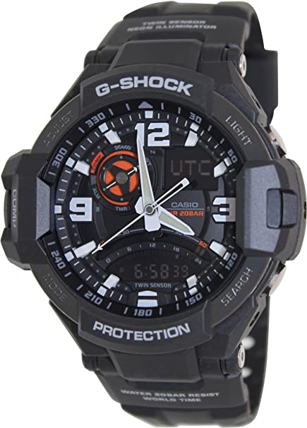 5a6ba5fe8 Amazon.com: Casio G-Shock GA-1000-1A Aviation Series Men's Luxury Watch -  Black / One Size: Casio: Watches