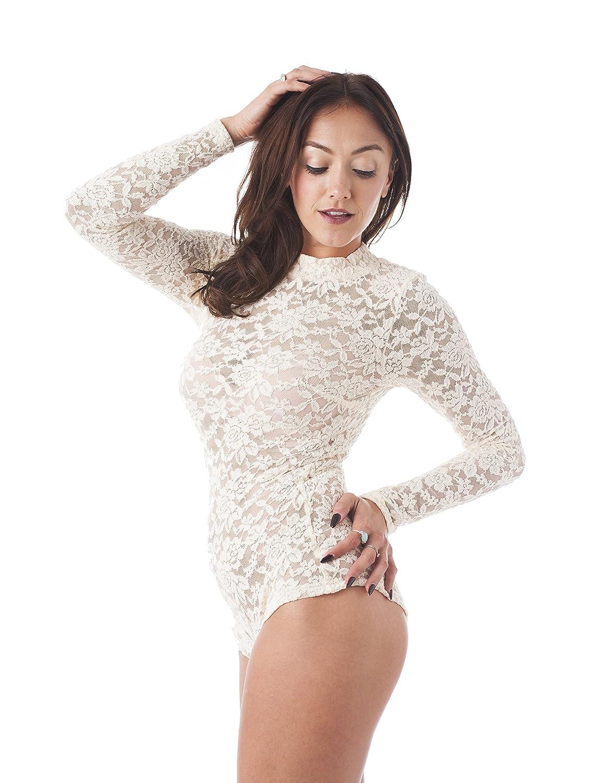 Khanomak Long Sleeve All Lace Mock Neck Bodysuit Beige) Kh0016_Beige _L
