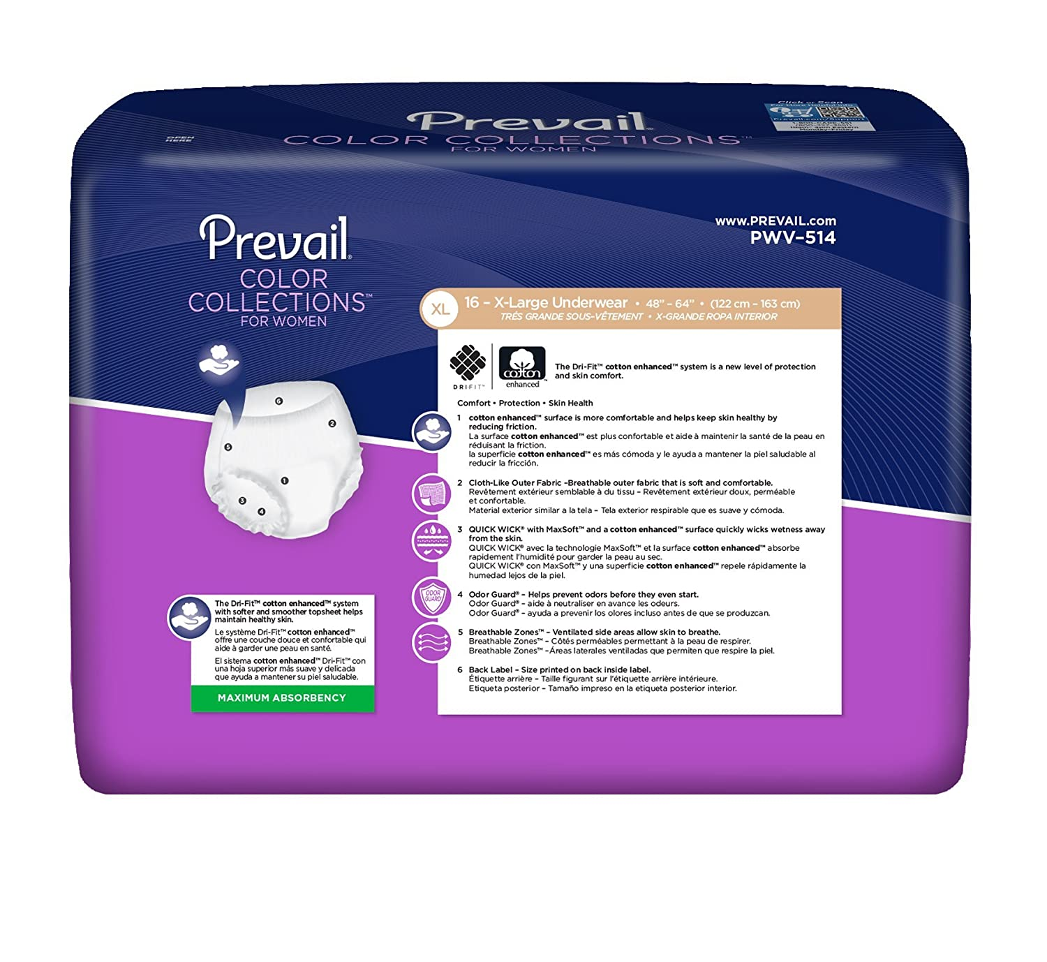 Amazon.com: Prevail Color Collections Maximum Absorbency Incontinence Underwear for Women, Extra Large, 64-Count: Health & Personal Care