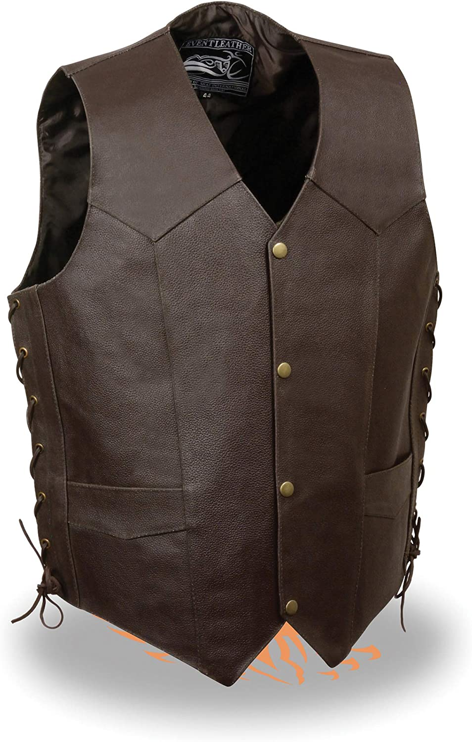 Event Leather-Mens Side Lace Live to Ride Vest w//Flying Eagle-BROWN-MD
