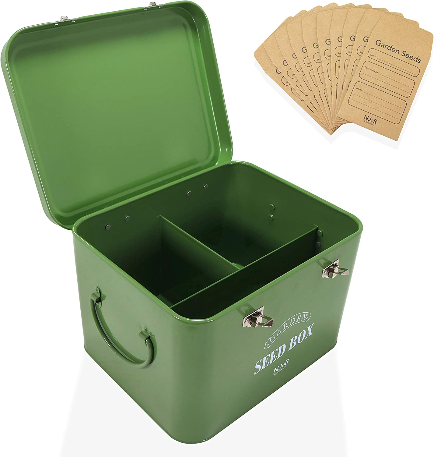 Steel Seed Packet Storage Box Organizer in Green. Robust Seed Package Container for Seeds and Bulbs Complete with 10 Seed Envelopes