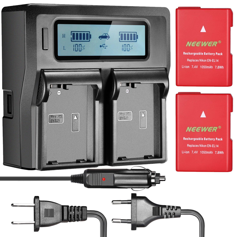 Neewer 2-Pack 1050mAh EN-EL14 EN-EL14A Replacement Li-ion Battery (Red) and Dual LCD Battery Charger(3 Plug) for Nikon D3100 D3200 D3300 D5100 D5200 D5300 D5500 DF P7000 P7100 P7200 P7700 P7800 Camera