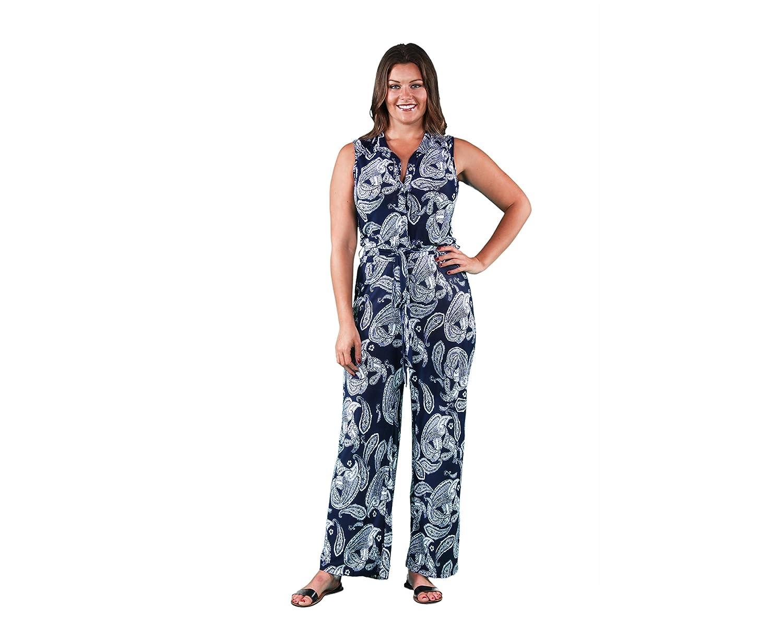 24/7 Comfort Apparel Women's Plus Size Navy Paisley Sleeveless Jumpsuit P703NPA P703NPA-3XL