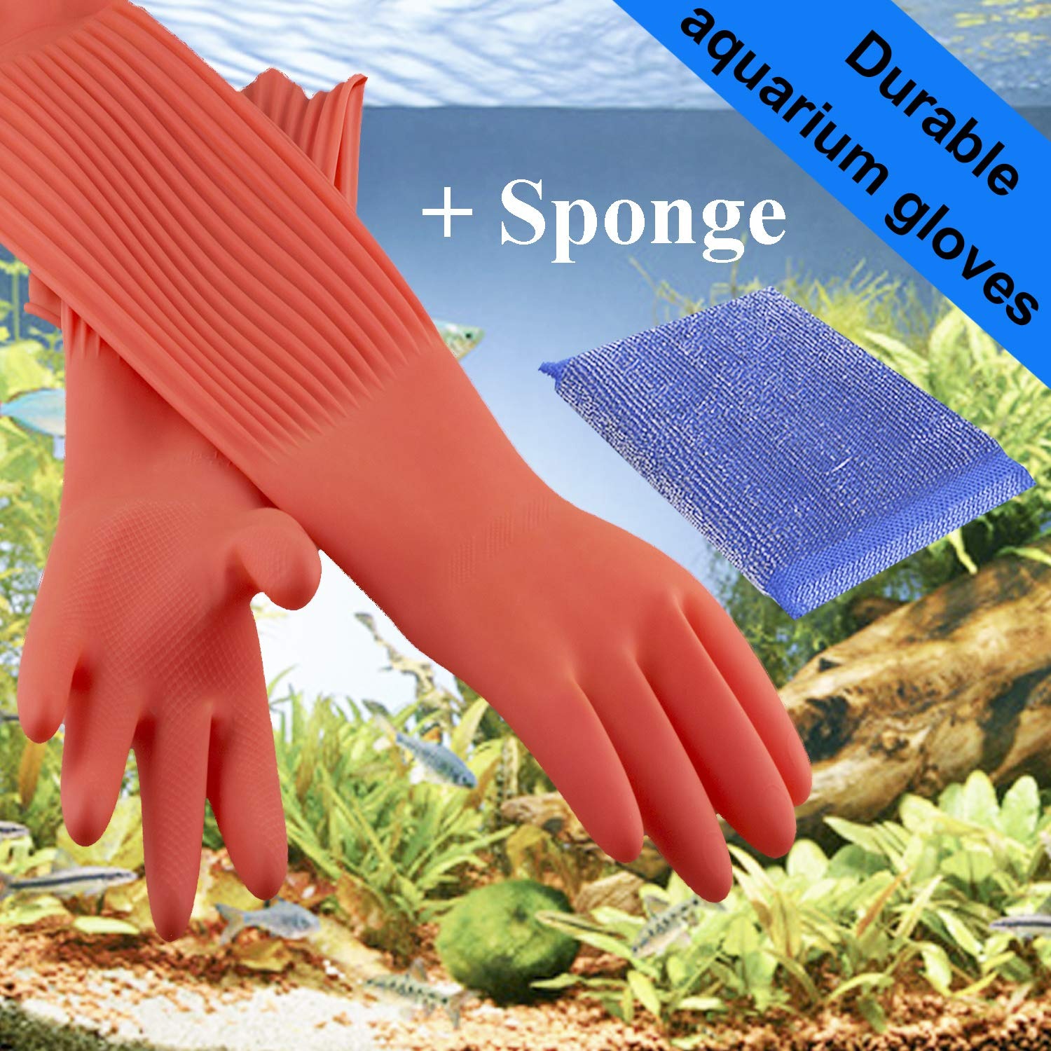 Wallko's pet store Aquarium Gloves for Fish Tank Maintenance - 2 Sizes! Small and Large - 22 inch Long Rubber Gloves Keep Your Hands and Arms Dry - Prevents Contamination, Allergies. by Wallko's pet store
