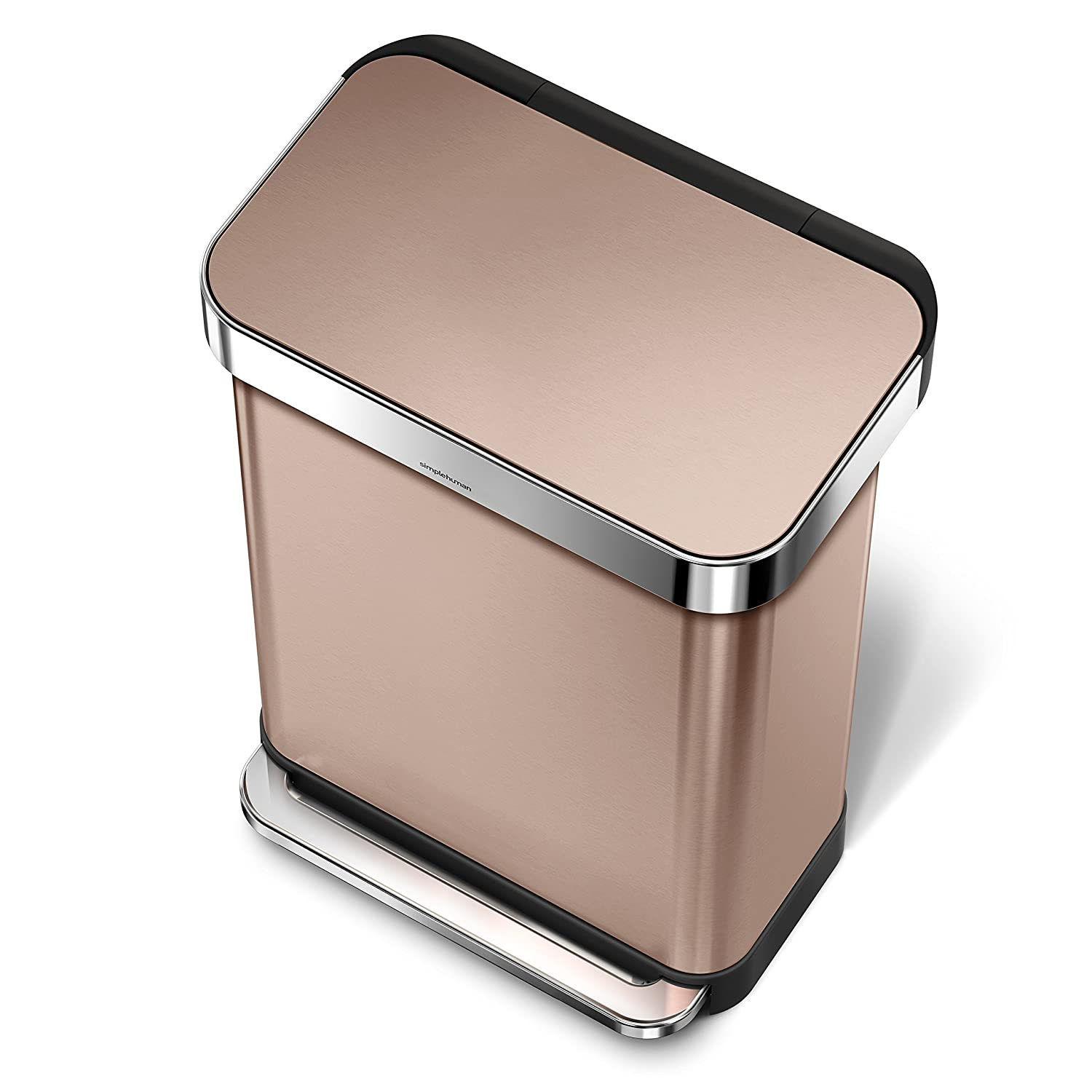 simplehuman Rectangular Step Trash Can with Liner Pocket, Rose Gold Stainless Steel, 30 Litre / 7.9 Gal Simplehuman CAD CW2032