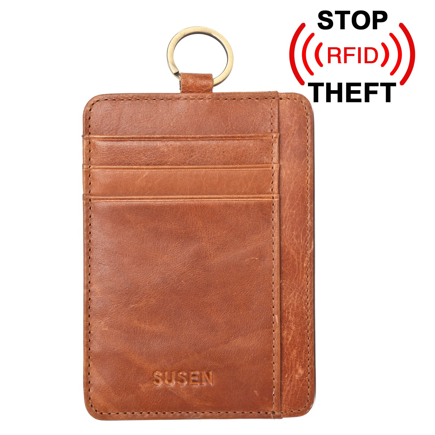 Mens RFID Blocking Wallet, SUSEN Slim Front Pocket Minimalist Wallet Card Holder Genuine Leather with Key Ring & ID Window, Best Gift for Father's Day (Coffee)