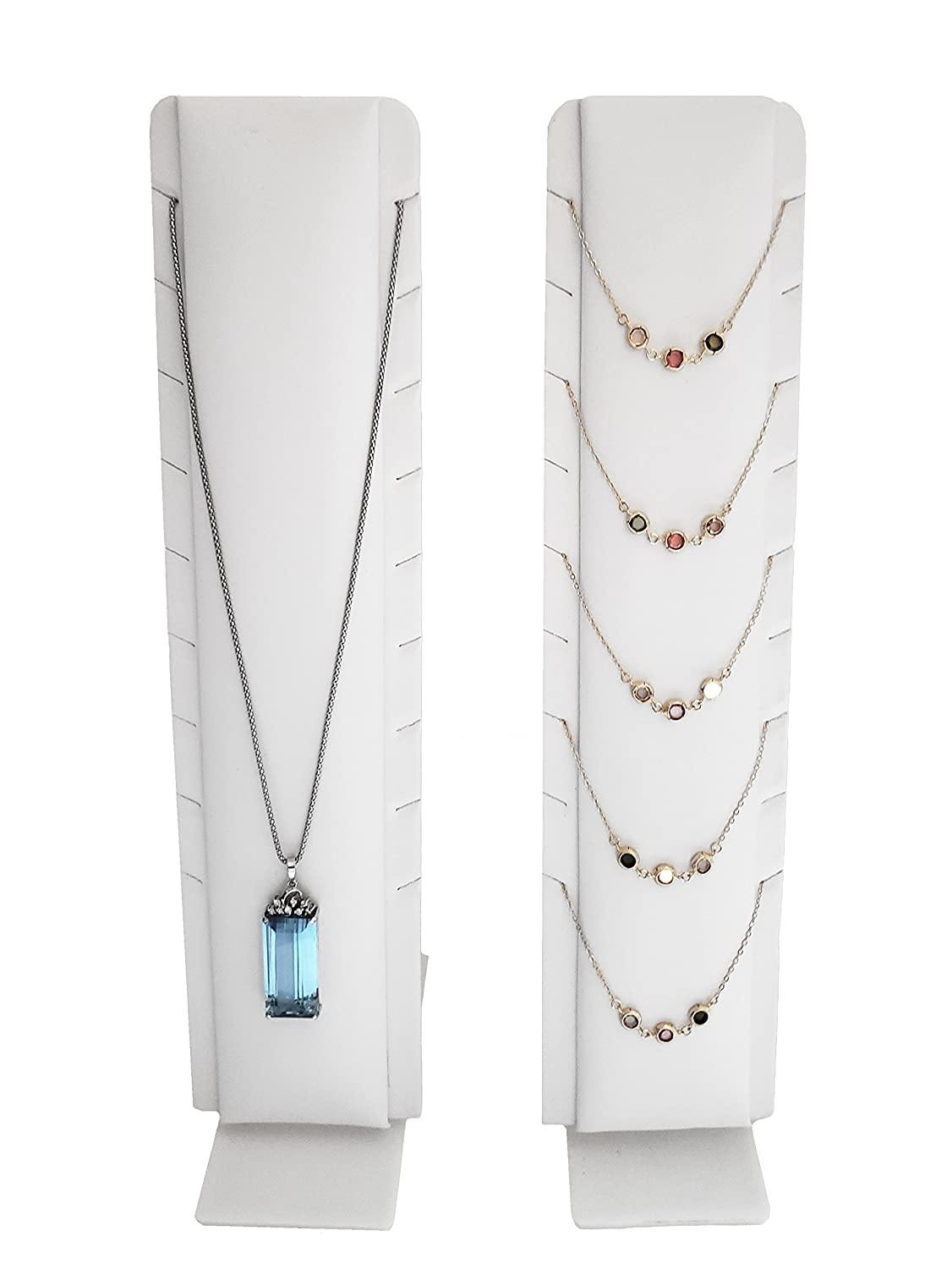 White Faux Leatherette ND199 Necklace Jewelry Display with Adjustable Stand