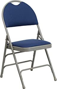 Flash Furniture HERCULES Series Ultra-Premium Triple Braced Navy Fabric Metal Folding Chair with Easy-Carry Handle