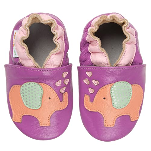 ee45d57c1efae Amazon.com | Momo Baby Girls Soft Sole Leather Shoes - Lovey Elephant (6-12  Months) Purple | Boots