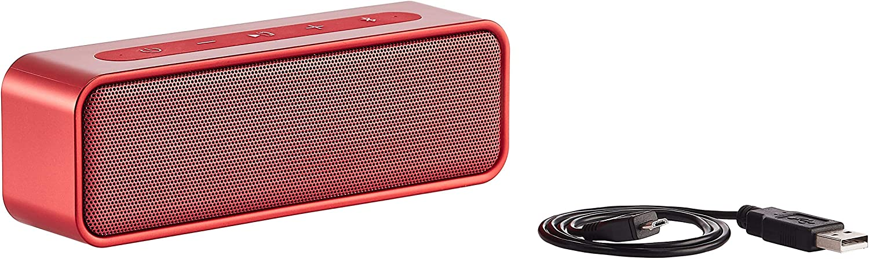AmazonBasics 9-Watt Bluetooth Stereo Speaker with Water Resistant Design - Red
