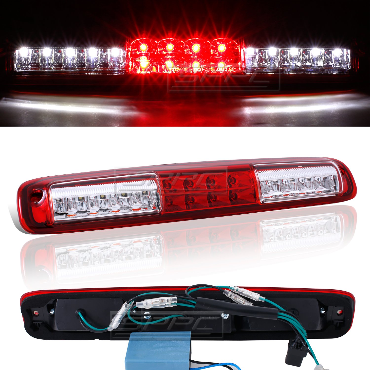 SPPC Red/Clear LED 3rd Brake Lights For Chevy Silverado : GMC Sierra - Cargp Tail Lamp