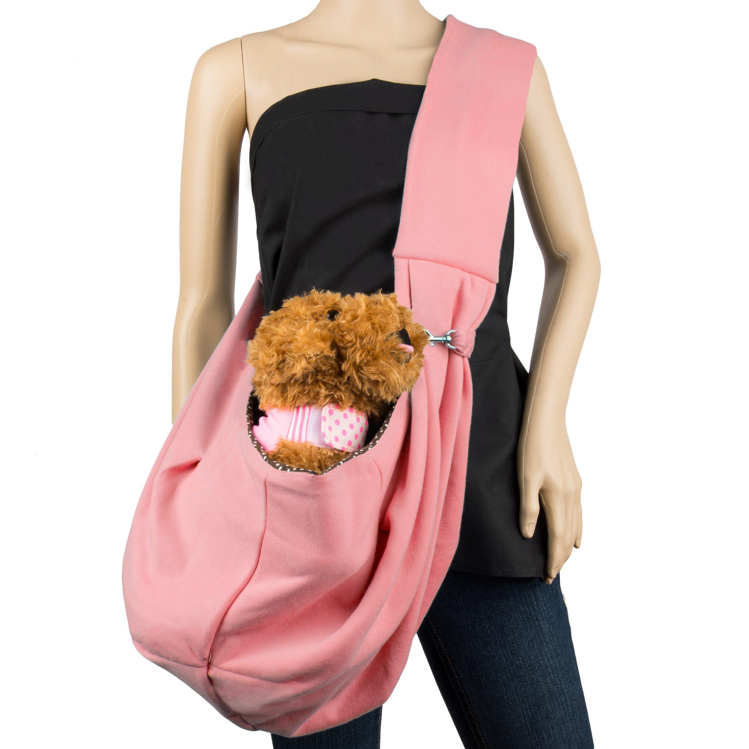 Cue Cue Pet's 100% Plush Cotton Reversible Pet Sling Carrier [Bubble Gum Pink] Suitable for Small to Medium Sized Dogs, Cats, Rabbits, Pet's by CUE CUE Pet