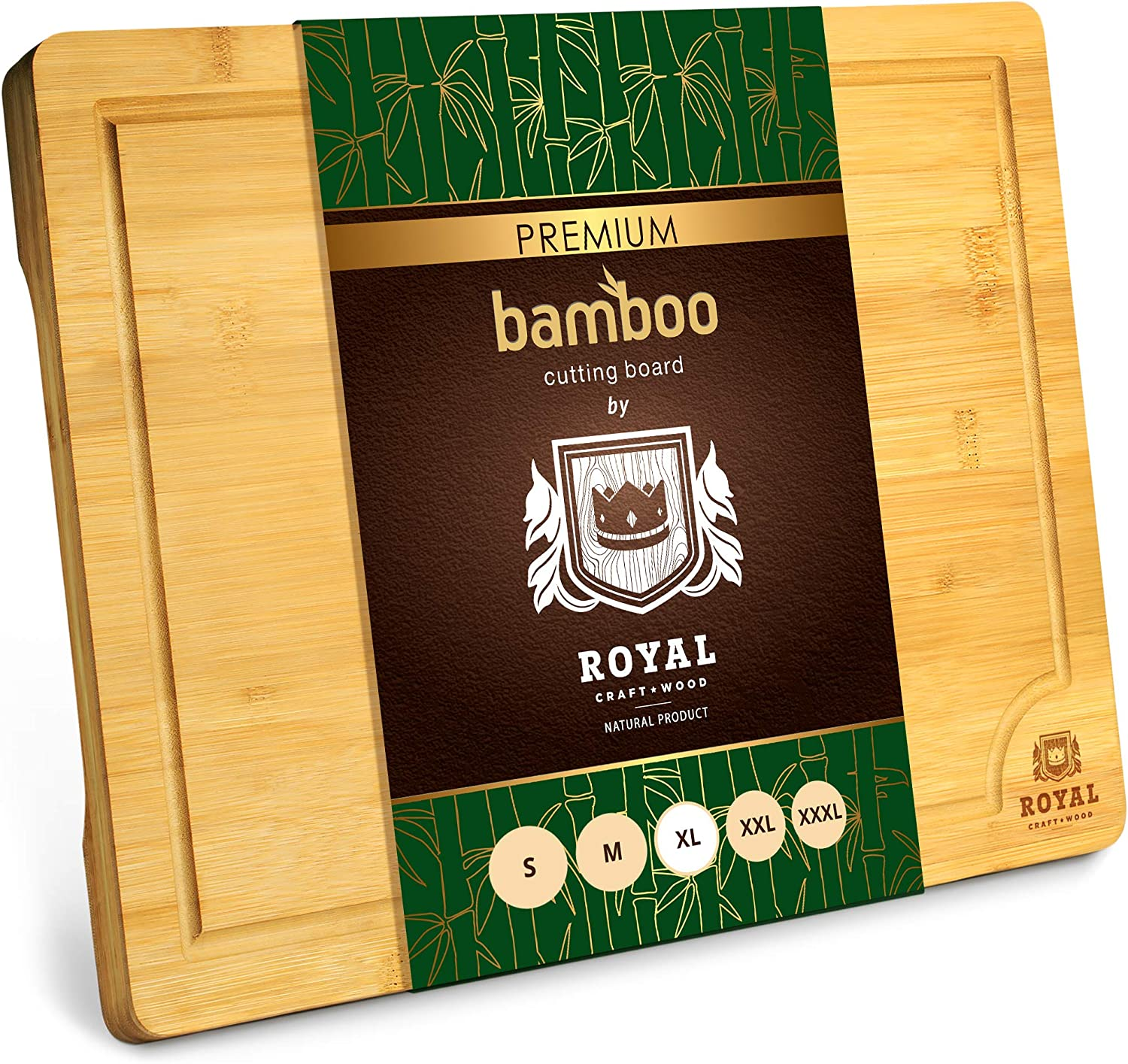 Extra Large Organic Bamboo Cutting Board With Juice Groove Kitchen Chopping Board For Meat Butcher Block Cheese And Vegetables Xl 18 X 12 Kitchen Dining