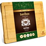 Extra Large Organic Bamboo Cutting Board with Juice Groove - Kitchen Chopping Board for Meat (Butcher Block) Cheese and Veget