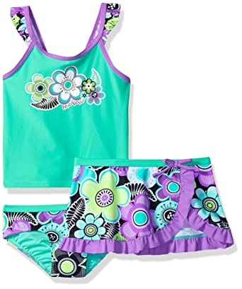 62fb23c9832a6 Amazon.com: ZeroXposur Girls' Cartwheel Tankini Swimsuit with Skirt:  Clothing