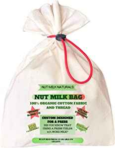 NUT MILK NATURALS NUT MILK BAG. 100% organic cotton fabric and thread. Food grade silicon slider tie. No chemicals in your drink. For nut milks, soy milk, cheese, hot tea, cold press coffee, yogurt