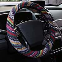 15 inch New Baja Car Steering Wheel Cover Universal Fit Most Cars Automotive Multi-Color Ethnic Style Coarse Flax Cloth…