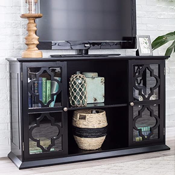 ModHaus Living Modern Moroccan Black Quatrefoil TV Stand Media Cabinet with Glass Doors – Includes Pen