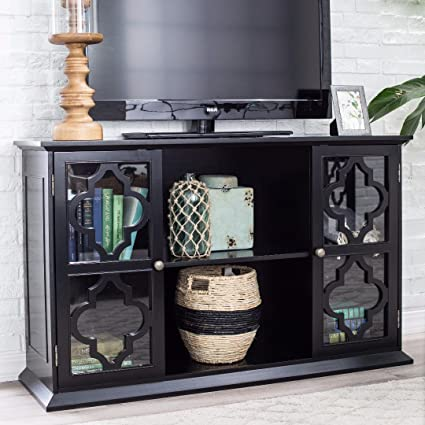 Modern Moroccan Black Quatrefoil TV Stand Media Cabinet With Glass Doors    Includes Modhaus Living Pen