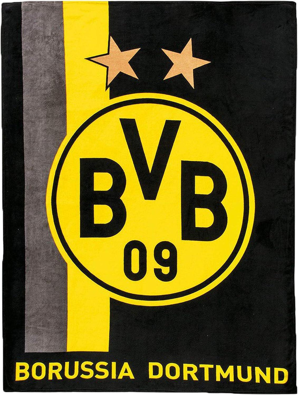 Borussia Dortmund Bvb Fleecedecke Mit Streifenmuster Schwarz Gelb 0 Amazon De Bekleidung