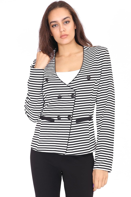 Da donna, colore: Nero e Bianco a righe UK 8–16Blazer, giacca da donna