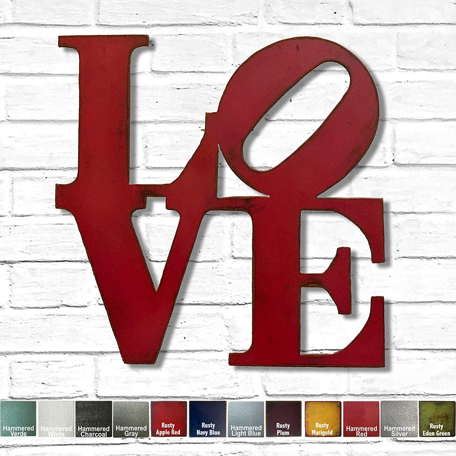 Amazon Com Love Metal Wall Art Choose Your Size 8x8 11x11 17x17 24x24 Or 36x36 Inch Tall Choose Love Home Hope Or Amor Sign Choose Your Patina Color Handmade