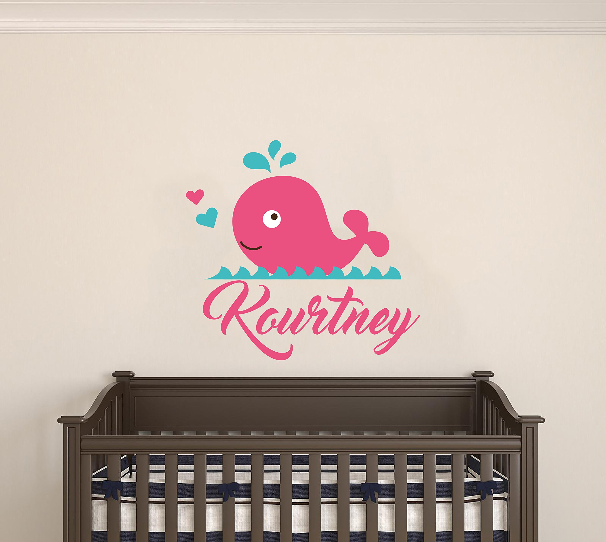 Personalized Name Hearts And Whale - Marine Animals - Baby Girl - Wall Decal Nursery For Home Bedroom Children (MM) (Wide 24''x21'' Height)