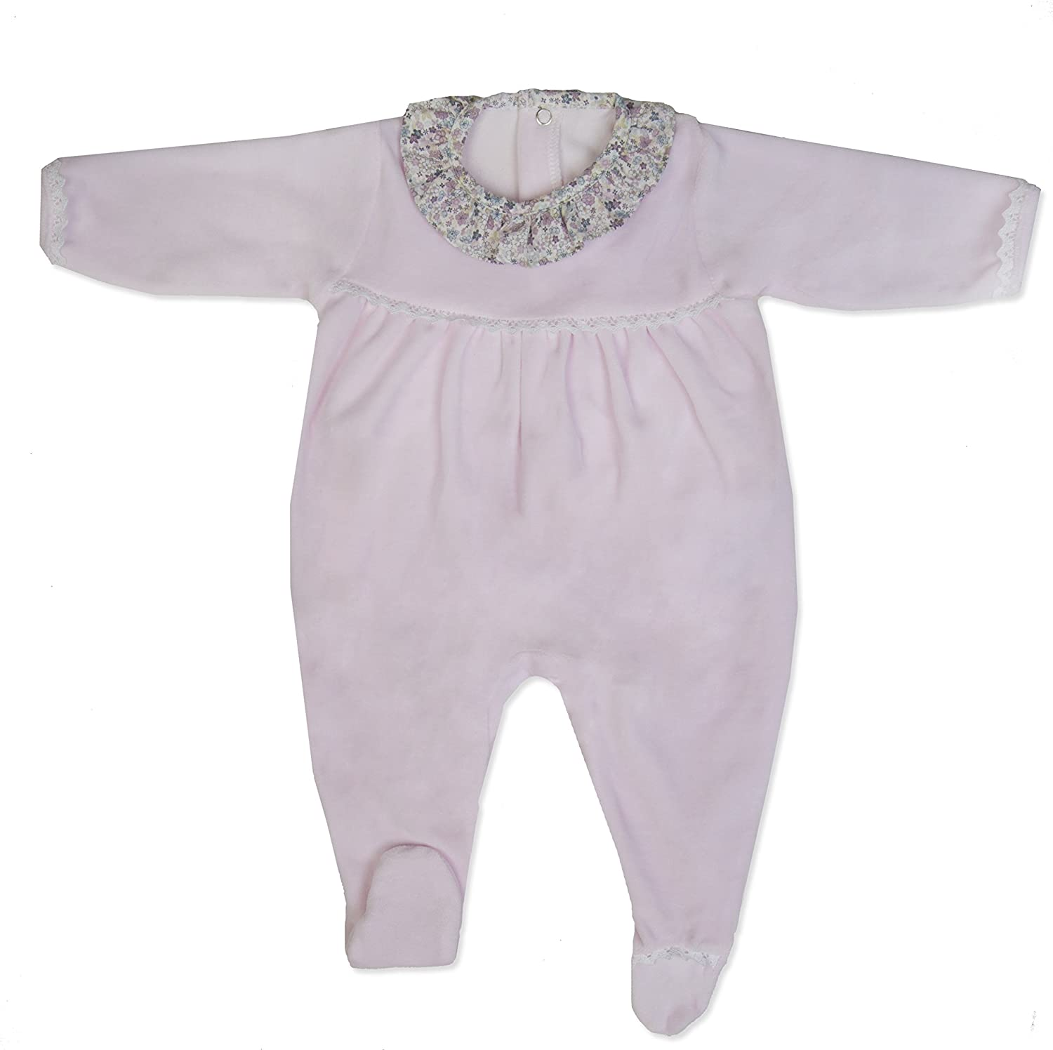 Newborn Baby Girls Cotton Velour Footie Pajamas Sleeper Babysuit Babygrow Push2Posh MN5040VAR