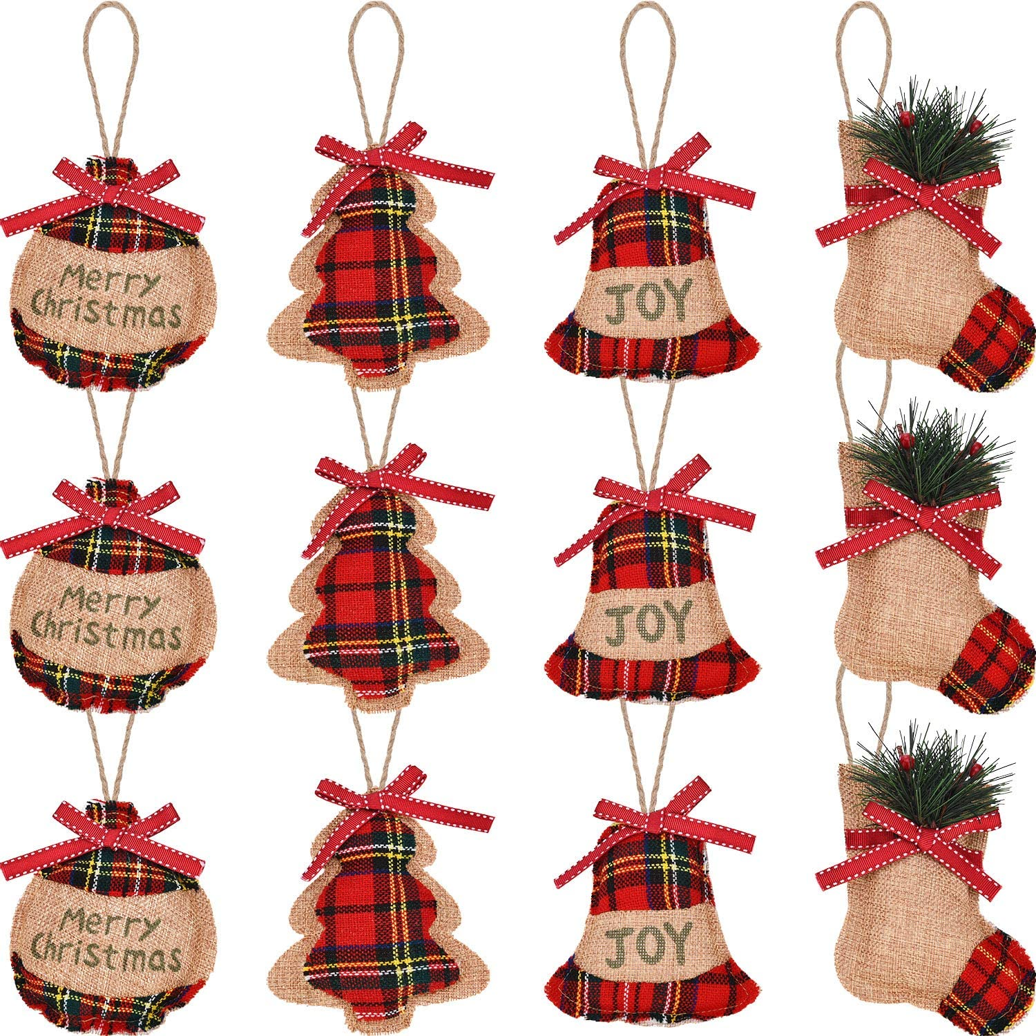 Jetec 12 Pieces Christmas Burlap Tree Ornaments Hanging Decorations Christmas Stocking Tree Ball Shaped Decor for Christmas Party, 4 Styles (Color 1)