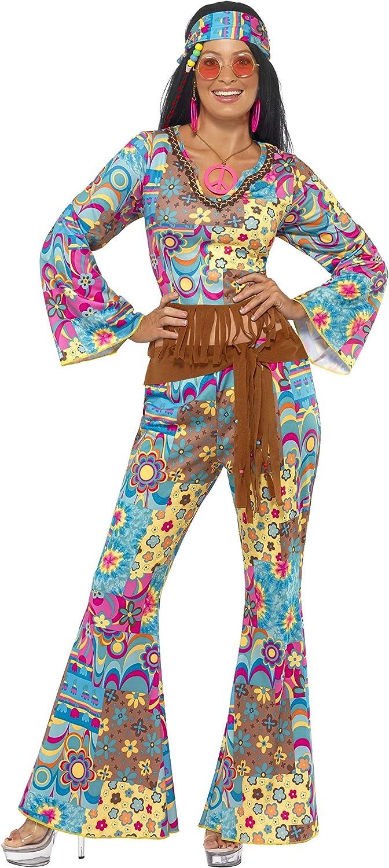 Smiffys Disfraz de Flower Power Hippy, Multicolor, con Top, Pantalones, Banda para el Pelo y cinturón