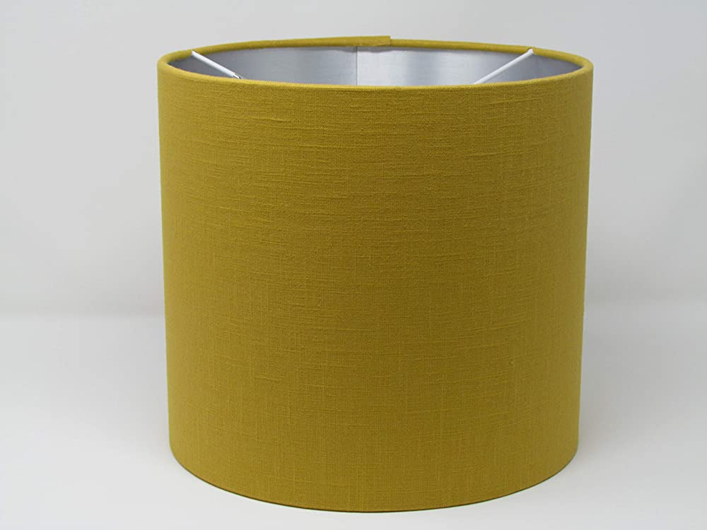 Mustard Yellow Textured Linen Drum Lampshade with Brushed Gold Metallic Lining