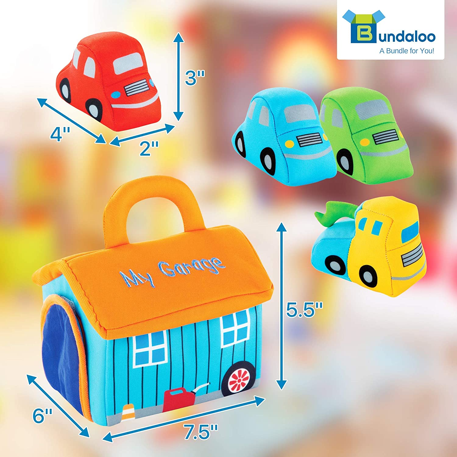 Red Blue and Green Cars Yellow... Bundaloo Plush Car Toy Set With Sounds