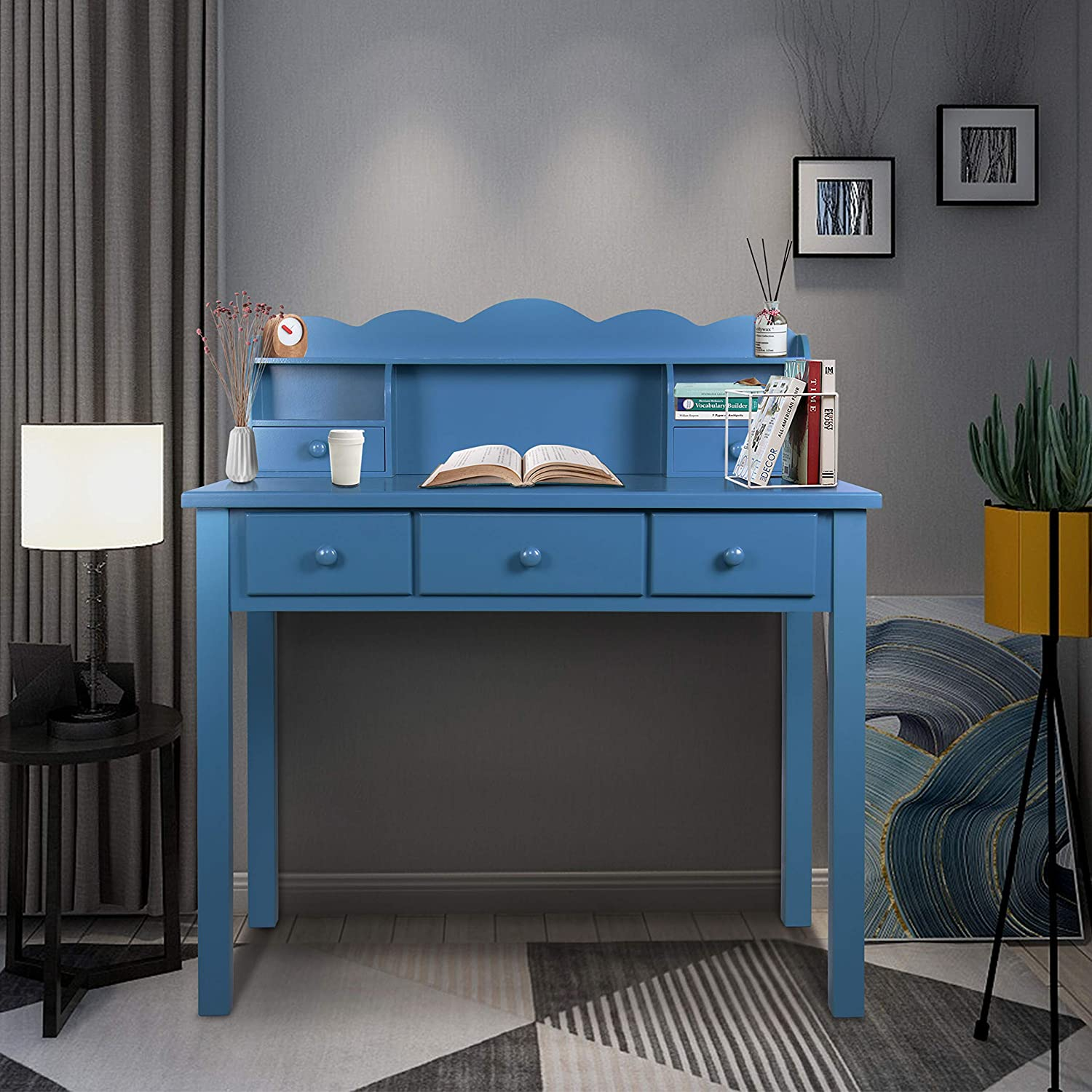 Home Office Furniture Writing Desk,Computer Work Station with Detachable Hutch,5 Drawers (Royal Blue)
