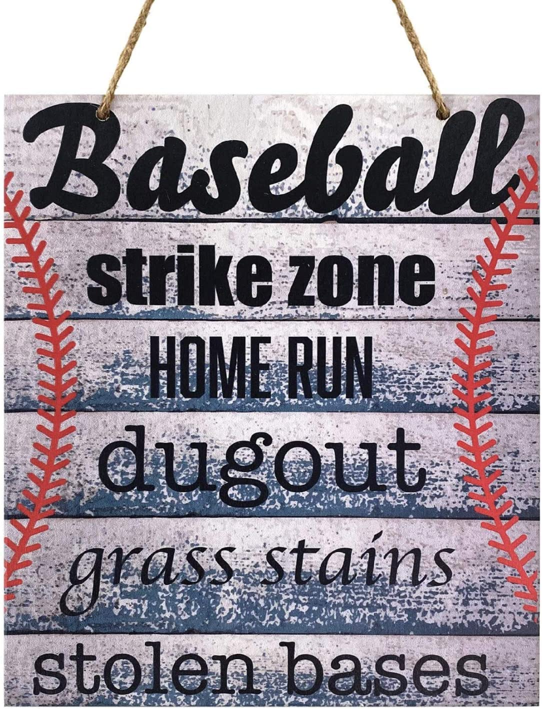 JennyGems Baseball Words Sign for Baseball Themed Room or Bedroom   Real Wood Sign   Made in USA