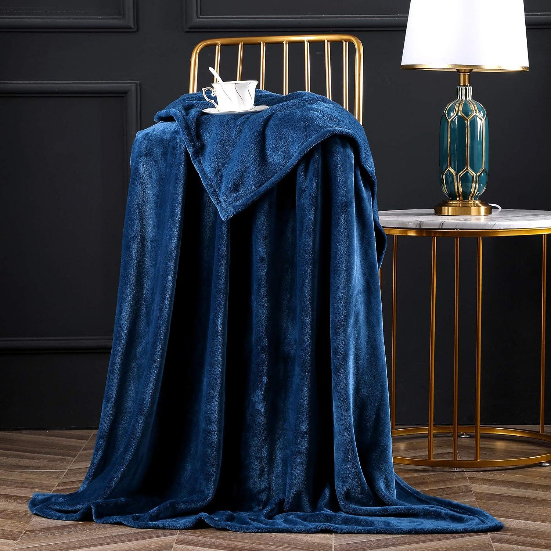 "Bertte Fleece Throw Blanket Super Soft Cozy Warm Lightweight Throw for Sofa Couch Luxury Decorative Velvet Pattern Bed Blanket - 50""x 60"", Navy"