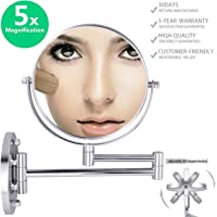 """Double-Sided Magnifying Makeup Mirror, 6.7"""" Diameter 1X/5X Adjustable Magnification Cosmetic Mirror Wall Mounted 360° Rotating Function Vanity Mirror, Chrome Extendable Swivel Mirror"""