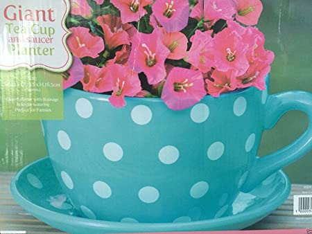 GIANT BLUE WITH PINK ROSES DESIGN TEA CUP AND SAUCER PLANTER FLOWER ...
