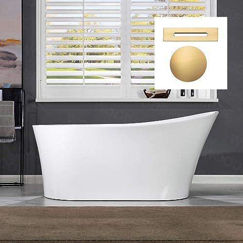 WOODBRIDGE 59″ Acrylic Freestanding Bathtub Contemporary Soaking Tub