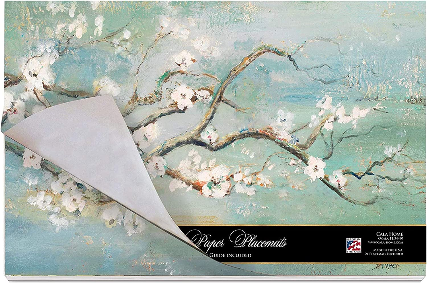Cala Home 24 Paper Placemats on Premium Paper Stock 17 Inches x 11 Inches Cherry Blossoms