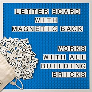 Creative QT Brick Building Letter Board - with Over 285 StoryBricks Letters and Symbols - Changeable Building Brick Message Board with Letters and Magnetic Backing - Blue 10 x 10 Inch