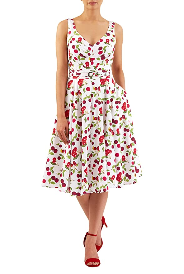 Plus Size Retro Dresses eShakti Womens Cherry print pleated crepe dress $59.95 AT vintagedancer.com